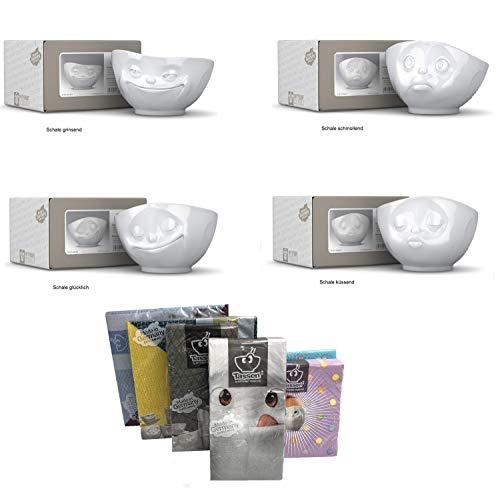 Fiftyeight Tassen 4er-Set TV Tassen küssende Tasse, grinsende Tasse, schmollende Tasse und glückliche Tasse