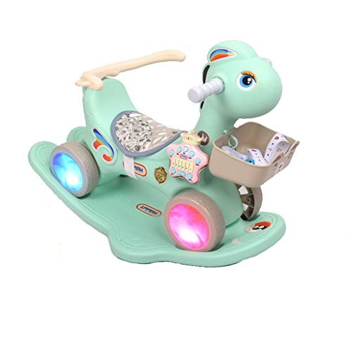 Love lamp-reisesysteme Kinder Schaukelpferd Musik Kinderwagen Flash-Rad Dual-Use-Schaukelpferd Baby Trojaner Kunststoff Spielzeug Geburtstagsgeschenk (Color : Green)