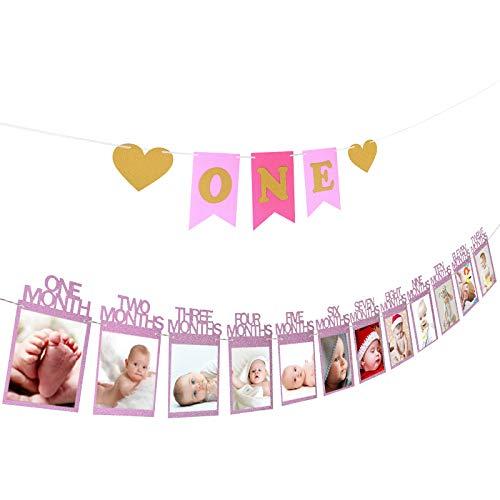 """marco de fotos ZoomSky guirlada fotos papel para colgar bebe recién foto decora fiesta de primer cumpleaños de niño regalo un""""one"""" bandera, 20 pegamento redondo punto, un hilo, una aguja (rosa)"""