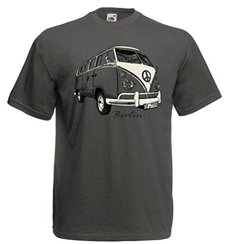 T-Shirt Bulli Berlin Souvenir Auto Hauptstadt Nostalgie (Graphit, L)