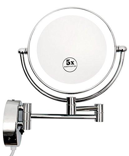 Kosmetikspiegel mit LED Beleuchtung Wandmontage Doppelseitig 1-/5-fach Vergrößerung Schminkspiegel schwenkbar durch 3-Fach Gelenkarm