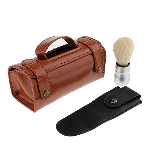 Dolity Sac à Main Portable à Stockage Outils de Rasage + Etui à Rasoir Barbier de Sécurité + Blaireau Barbe
