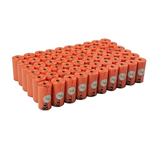 PET N PET Earth-Friendly 1080 Counts 60 Rolls Large Unscented Dog Waste Bags Doggie Bags Orange Color (Orange-1080 Counts Refills, Orange refills)