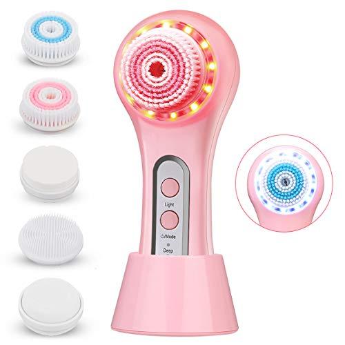 liaboe Cepillo de Limpieza Facial IPX7 100% Impermeable Limpieza Facial Limpiador de Cara 5 en 1 Masajeador Facial con 2 Modos de Terapia de Luz para El Acné Puntos Negros Piel Muerta