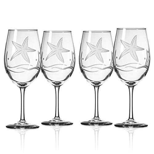 Rolf Glass Starfish White Wine Glass, 4 Count (Pack of 1), Clear
