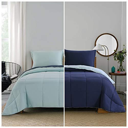 Lightweight Comforter Set - Twin Navy Blue All Season Down Alternative Comforter Set Summer Duvet Insert 2 Piece - 1 Comforter with 1 Sham Reversible Twin Size Navy / Light Blue