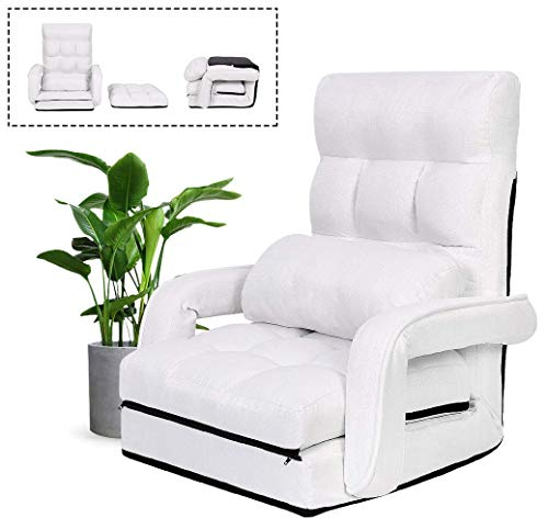 sunseen Adjustable Folding Floor Video Gaming Chair with Armrest Comfortable Padded Lazy Sofa Ergonomic Recliner(White)
