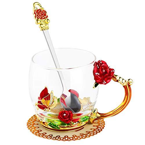 WD&CD Rose Schmetterling Glas Tee Kaffee Tassen Tassen mit Löffel und Untersetzer, Geschenke für sie Freundin Frau Mama Frauen am Valentinstag Muttertag Weihnachten rot kurz