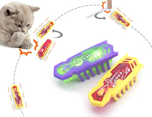 MCS 猫 電動 おもちゃ 電子虫 自動移動、向き変わる、寝返り バッテリー駆動 運動不足解消 2個 入り(ランダムカラー)