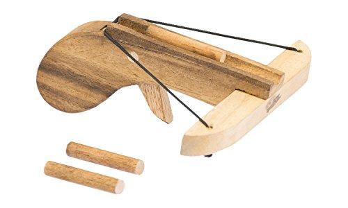 Erlebnis Mittelalter Arbrust für den kleinen Mittelalter Krieger (Armbrust Supermini 14x15x6,5 cm aus Jempinis Holz (Meliaceae), inkl. 3 Holzbolzen als Munition Schussweite: ca. 5-6 m)