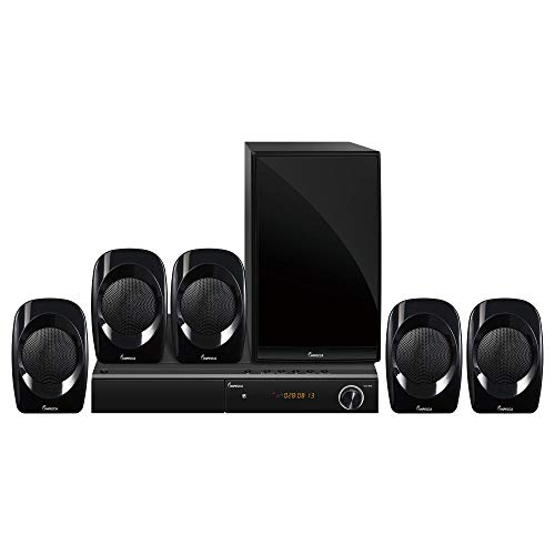 Impecca Cinema 5.1 Channel Home Theater Speaker System with DVD Player, 450W with Powered Sub, Surround Sound System, Bluetooth (Wireless Audio), USB Port, AUX - Line in