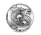 EVESCITY Zen Dragón Espaciador de Plata para Pulseras de Abalorios joyería para Sus Amantes de los Animales