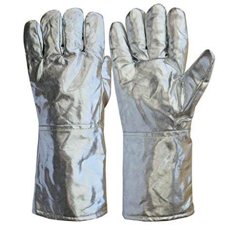 LLDKA handschoenen van aluminium, bestand tegen hoge temperaturen, vuurvast, vijf vingers, handschoenen, brandbeveiliging, 1000 graden