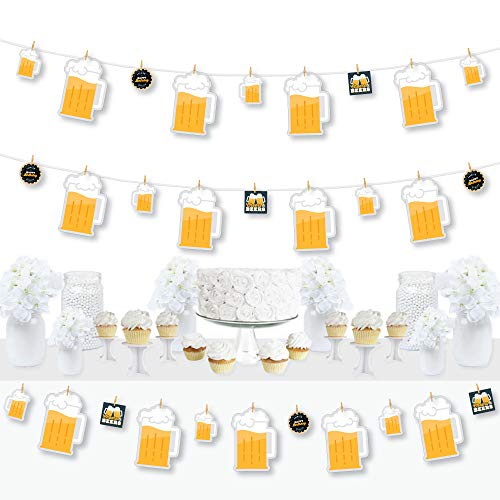 Big Dot of Happiness Cheers and Beers Happy Birthday - Birthday Party DIY Decorations - Clothespin Garland Banner - 44 Pieces