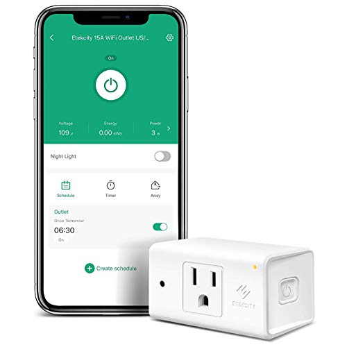 Smart Plug by Etekcity, Works with Alexa and Google Home, 15A/1800W, WiFi Energy Monitoring Outlet with Automatic Night Light, No Hub Required, ETL Listed, White (Upgraded Version)