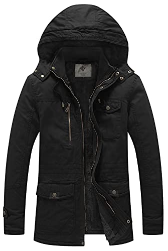 WenVen Men's Winter Fleece Military Coats Parka Jackets Outerwear Black XL