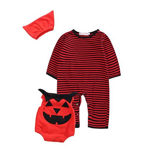 Decdeal Disfraces de Calabaza de Halloween para Bebés Conjunto de Ropa Mono de Manga Larga Chaleco y Sombrero Traje de Diablo de Halloween para Niñas Niños Pequeños de 3 a 18 Meses