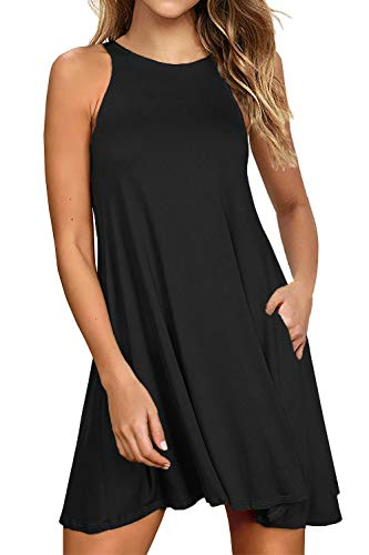 Lamilus Dresses for Women Casual Summer Loose Tshirt Beach Cover up Plain Tank Dress with Pockets(S,Black-L80001)