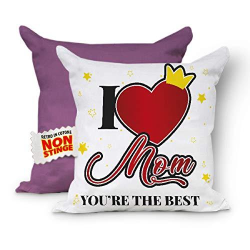 I Love Mom - Cojín completo para el Día de la Madre con relleno para sofá, cojín para mamá, cojín decorativo, cojín 40 x 40 cm (rojo lila)