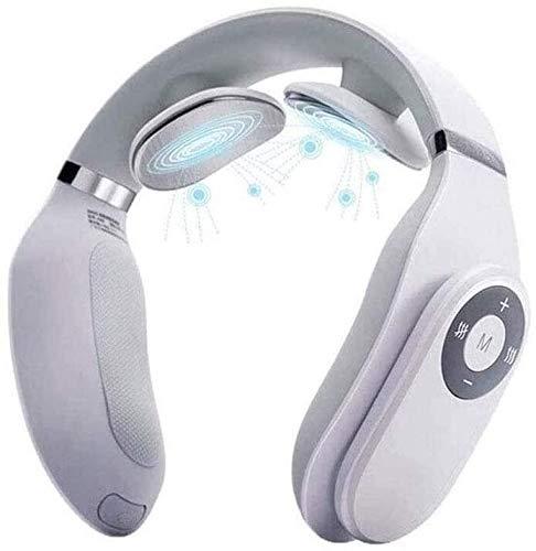 LG Snow LKNJLL Inteligente Massager del Cuello con función de calefacción, conexión inalámbrica 3D del Cuello del Recorrido Aparato de Masaje, Carga por USB, fácil de Llevar, Blanca