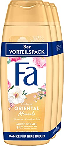 Fa Pflegende Duschcreme Oriental Moments mit dem zarten Duft von Wüstenrose & Sandelholz 3er, 750 ml
