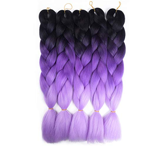 Kanekalon Ombre Braiding hair synthetic Crochet braids twist 24inch 5pcs/lot 100g Ombre two three tone Jumbo braid hair extensions Dreadlocks (black-purple-lavender)
