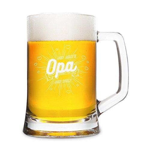 KIXY Bierkrug von Montana Geschenk Gravur Bierseidel Glas - Der beste Opa der Welt