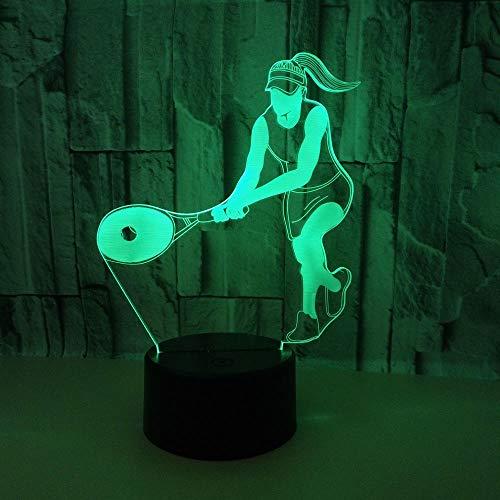 WULDOP Diseño De 3D Jugando tenis deportes gente 7 Colores Cambian Luz Nocturna Lámpara De Noche Para Decoración De Dormitorio