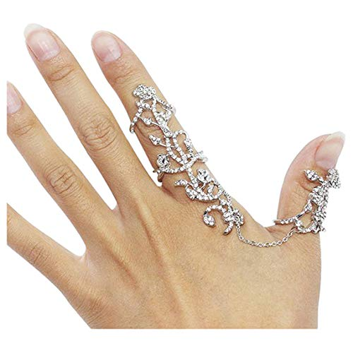 Zealmer Women's Crystal Chain Statement Ring