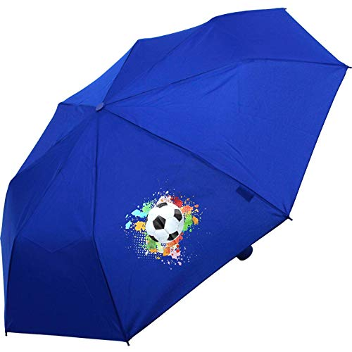 Kinderschirm Jungen Mini Taschenschirm Light Kids blau (Fußball-blau)