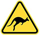 Samunshi® Warndreieck Känguru Aufkleber Känguruaufkleber Gefahrenschild in 10 Größen (8x7cm Mehrfarbig)