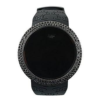 Iced Techno Pave Bling Lab Diamond Black on Black Digital Touch Screen Sport