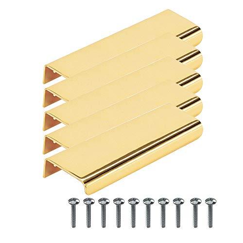 Beslag Design - 5 maniglie per mobili 'Lip', in ottone lucido, 120 mm, distanza tra i fori 80 mm, maniglia profilata, maniglia per cucina, design classico e moderno