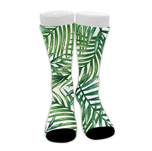 Tropical Palm Leaves Calcetines de vestir novedosos unisex Calcetines divertidos de tripulación Calcetines de compresión de media pantorrilla Calcetines de senderismo de viaje novedosos, tob