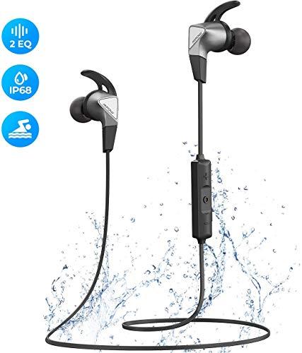 Mpow Fly Bluetooth Kopfhörer In Ear, Sport Kopfhörer mit IP68 Staub- und Wasserdicht, 12 Stunden Spielzeit/Dual EQ, Sportkopfhörer Joggen/Laufen Bluetooth 5.0 mit HD-Mikrofon für iPhone Android