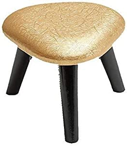 LAZNG Footstool Ottoman Square Leather Creative Home Multi-Function Solid Wood Stool with 4 Wooden Legs (Color : Golden Pattern, Size : Small)