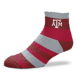 For Bare Feet NCAA Rainbow Fuzzy Sleep Soft Socks-1 Size Fits Most-Texas A&M Aggies-OSFM