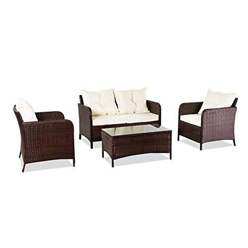 LZZJ Juego de Cuatro Piezas de sofá de Ocio Exterior Juego de Cuatro Piezas: Paquete Negro-1 (combinación Tot 2 Cajas)