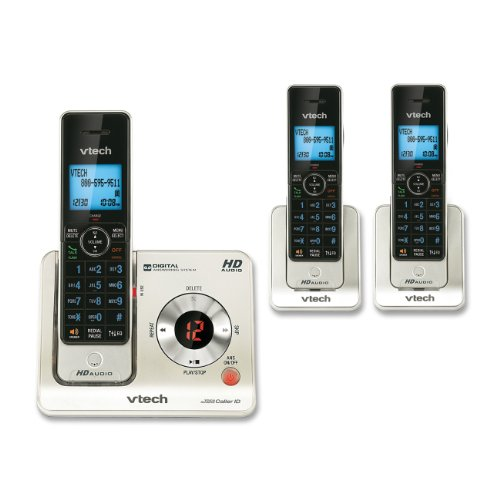 small VTech LS6425-3 DECT6.0 Expandable cordless phone with answering machine and caller ID / call…