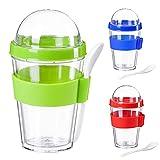 Vaso de yogur para llevar Vaso de muesli Vaso de muesli Vaso de yogur con tapa hermética (Verde)