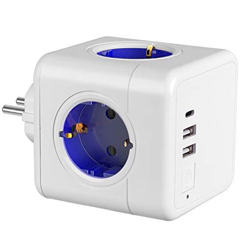 USB Steckdose, 4Steckdosen mit 2 USB Ladegerät Anschluss und 1 Typ-C Port, 7-in-1Adapter mit USB Ladegerät, kompatibel für Smartphone Laptop usw. und Verschiedene Elektrogeräte