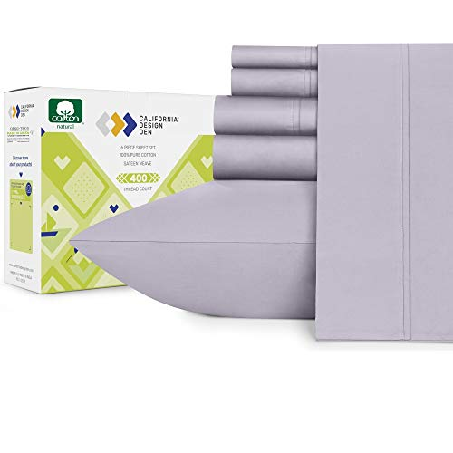 Lavender Gray Full Size Sheets - 400 Thread Count 6 Piece Bed Sheet Set, Real Cotton Lightweight Sateen Weave, Elasticized Deep Pocket Fits Low Profile Foam and Tall Mattresses