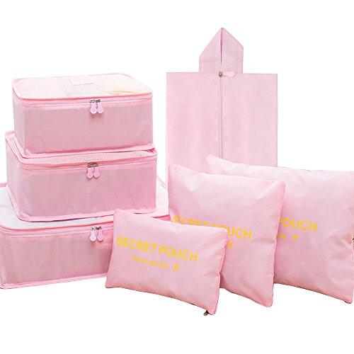 FunYoung Kleidertaschen-Set 7-teilig Reisetasche in Koffer Wäschebeutel Schuhbeutel Kosmetik Aufbewahrungstasche Farbwahl (Pink)