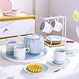 XCTLZG Porcelain Tea Sets Service Tea Set for Adults Coffee Cup and Saucer Set Afternoon Tea Set With Tea Tray,Blue