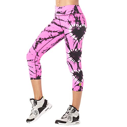 Zumba Fitness Damen Dance Workout Capri Pants Athletic Compression Leggings Hosen, Power Pink, Large