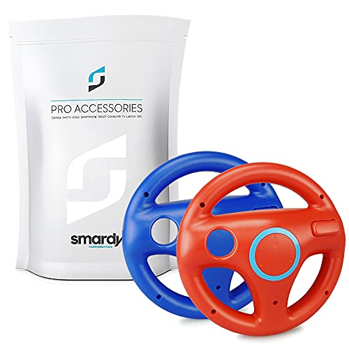 smardy Volante Racing   Corse rosso + blu compatibile con Nintendo Wii e Wii U Remote per Giochi Mario Kart