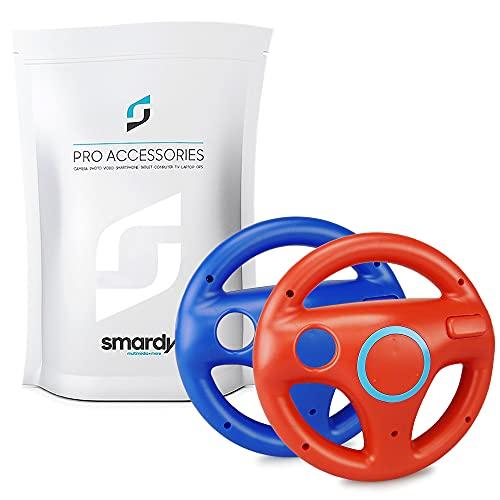 smardy Volante Racing / Corse rosso + blu compatibile con Nintendo Wii e Wii U Remote per Giochi Mario Kart