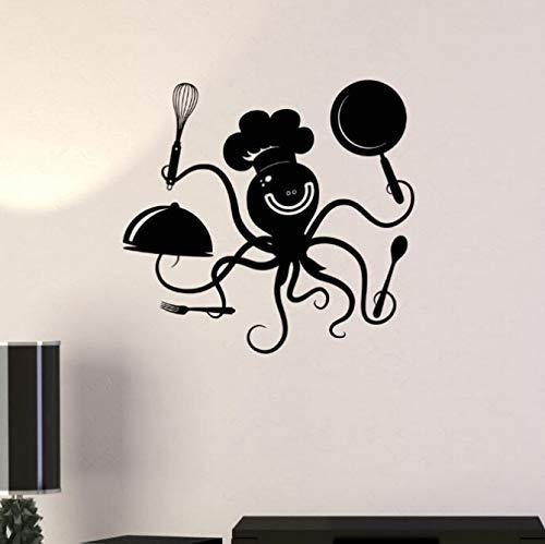 Keuken Decor Grappige Octopus chef-kok muur Sticker potten en pannen Restaurant Cafe muur Vinyl muursticker muur kunst 42 * 40Cm