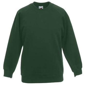 Fruit of the Loom Sweat-shirt à manches raglan pour enfant - Vert - Vert bouteille - 12 ans