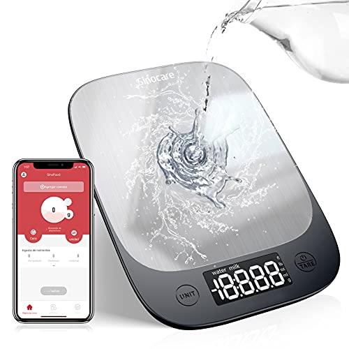Bilancia da Cucina Bluetooth, Sinocare 5Kg/11lbs Professionale Acciaio Inox Alta Precision Bilancia Display LED Multifunzione Elettronica per la Casa e la Cucina con Funzione Tare, 3 Batteries Incluse (Acciaio inossidabile2)